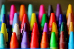 Box of colorful crayons